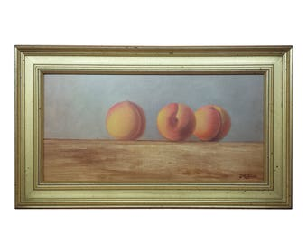 Kenneth Milton Oil on Panel Still Life with Peaches