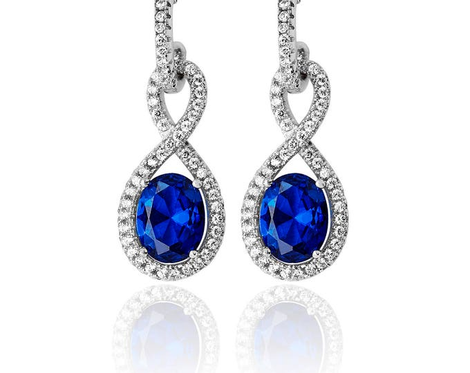 Sapphire INFINITY Shape CZ  Drops Sterling Silver 925  Fancy Earring Rhodium Plated- Ideal Gift For Mom Her