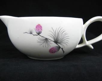 Canonsburg Pottery China  Wild Clover Pattern  Gravy Boat  Pink and Black on Cream Art Deco Style  Pretzel Handle