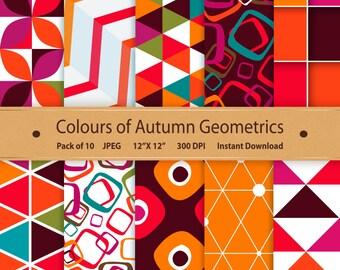 Autumn Geometric Paper Colours of Autumn Digital Scrapbooking Printable Geometric Background Instant Download Graphics Art Purple Orange Red