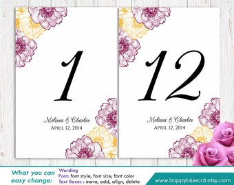 "DiY Printable Table Number Card Template - Instant Download - EDITABLE TEXT - Flower 4""x6"" - Microsoft® Word Format HBC133"