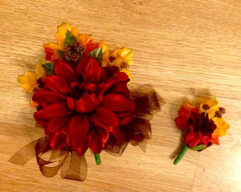 Fall wedding corsage and boutonnière set