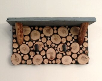 Log Slice Coat Rack Shelf  Free Shipping!