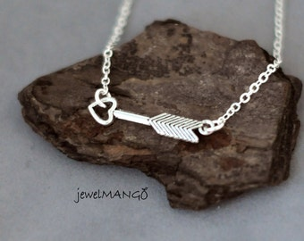 Silver Arrow Necklace, Cupids Arrow necklace, minimal jewelry, simple, heart, shooting arrow charm, sideways, Arrow bracelet, gifts,layering