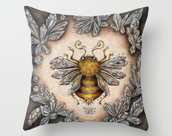 """Throw Pillow Cover with pillow insert Indoor - Crystal Bumblebee"""" .PRINT . animal- woodland - fine , room - childrens, nursery - babies -"""