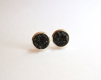 Solid Black Chunky Glitter Faux Druzy Earrings - Studs/Posts 10mm MEDIUM (D102) - Gifts for Her, Teens, Under 20, Under 10, Stocking Stuffer