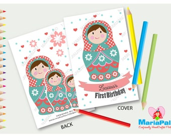 6 Matryoshka Coloring Book, Nesting Dolls coloring Books, Personalized Coloring Book Party Favors, Colouring Book Set A1245