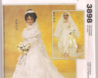Fashion Doll 20th Century Bridal Gown McCalls 3898 Gown and Slip Veil and Gloves Sewing Pattern Doll Clothes Pattern 11.5 Inch Doll Uncut