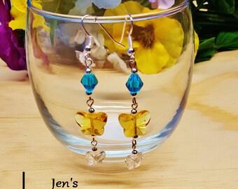 Summer Butterflies handmade faceted crystal beaded earrings