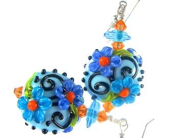 Floral Lampwork Earrings, Glass Bead Earrings, Lampwork Jewelry, Blue Turquoise Flower Earrings, Glass Bead Jewelry, Beadwork Earrings
