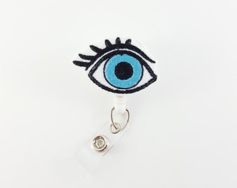 Eye - Felt Badge Reel - Retractable ID Badge - Optometrist - Ophthalmologist Badge Reel - Eye Doctor - Retractable ID Holder - Nurse - RN