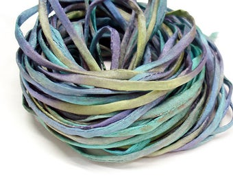 "5PC. PARAKEET 2MM Hand Dyed Silk Jewelry Cord//5PC Hand Dyed Silk Cording 1/8"" X 36""//Hand Dyed Silk Jewelry Bracelet/Necklace Cording"