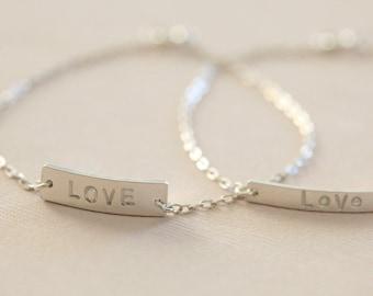 love bracelet, mother's day gift, dainty bracelet, bar bracelet, gift for her - sterling silver SALE