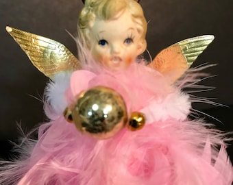 Howard Holt style retro pink feather ceramic angel christmas tree topper ornament