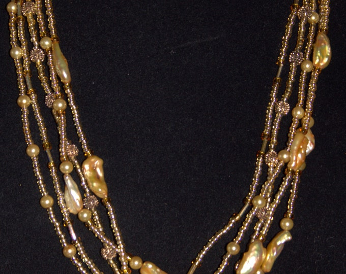 Gold Pearl Multi-Strand Necklace