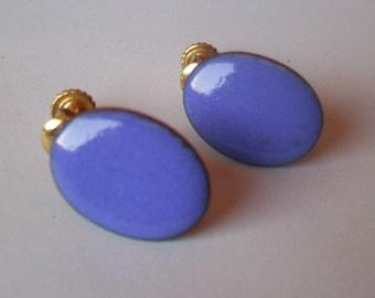 Blue Oval enamel on copper -Clip earrings