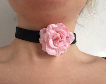Sparkle Pink Rose Black Choker