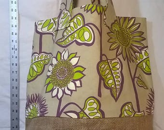 Taupe, Green, Purple Floral Tote w/Burlap Bottom