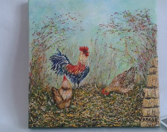 Cock Chichens: hens and Rooster on manure, acrylic painting on canvas, figurative, original art, country gallinaceans, deco wall, Christmas gift