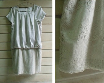 Vintage Cream Lace Dress - Drop Waist - Two Pockets - Wedding Party Dress - Bridesmaid Dress - Small