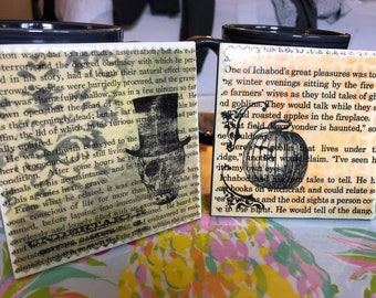 Haunted   Upcycled Book Page Coasters
