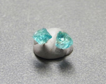 4mm Rough Blue Apatite Gemstone and Sterling Silver Ear Posts