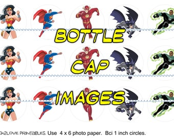"""Justice League cartoon printables  4x6 - 1"""" circles, bottle cap images, stickers all together"""