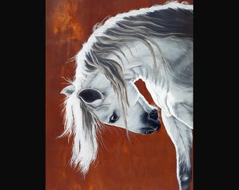 PRINT or GICLEE Reproduction -- Beautiful White Horse -- Andalusian Horse -- Horse Art -- The Untamable Heart 12x18
