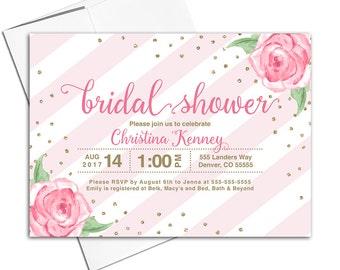 Floral Bridal Shower Invitation Printed | blush and gold bridal shower invitation printable | flower wedding shower invites - WLP00617