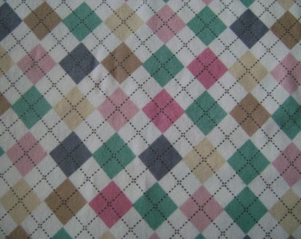 Pastle Argyle Flannel Fabric by the yard