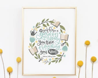 Floral hand lettered print - Gift for her - Mothers day gift - Wall art - Hand drawn quote - Hand lettered modern calligraphy - Office Decor