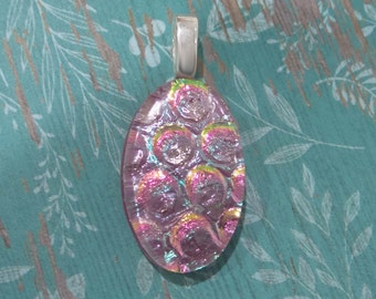 Pink Oval Pendant, Dichroic Necklace, Pink Fused Glass Jewelry, Sparkly Necklace, Omega Slide Pendant, Dichroic Glass Jewelry - Alexis - -6