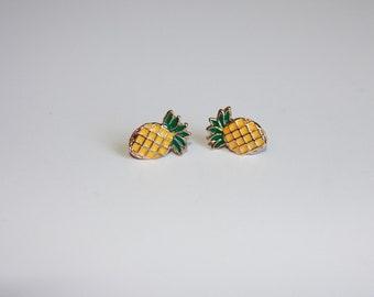 Pineapple earrings  - Pineapple studs - yellow green pineapples - pineapple jewelry - pineapple - yellow pineapples - yellow