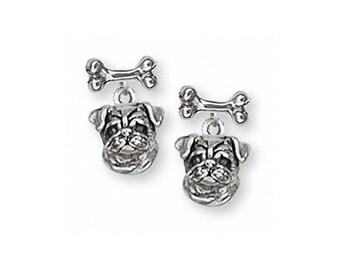 Pug Earrings Jewelry Sterling Silver Handmade Dog Earrings D05-BNE