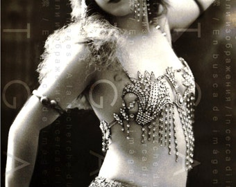 ART DECO Risque French Photo Postcard Flapper Belly Dancer Wrapped In Rhinestones. Flapper BALLERINA Digital Download.