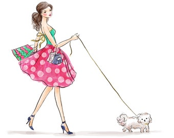Fashion Illustration Girl with a Dog Puppy Polka Dot Skirt Dress Stiletto Shopping Bags with Custom Blog Banner Design by Reani on Etsy