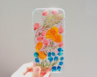 Pressed Flower iphone cases colorful real flowers iPhone case iPhone 8 plus iphone x case HUAWEI mate pro 10+ sumsung case mother's day gift