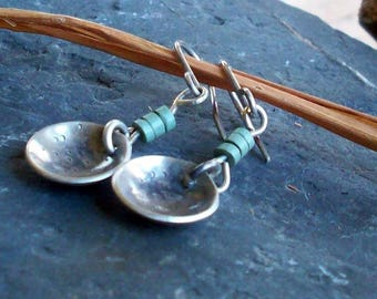 Dapped Sterling Earrings with green accents