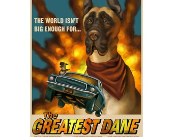 Greatest Dane Dog Action Movie Wall Decal - #61001