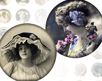 Victorian and edwardian Vintage ladies digital collage sheet 1 inch circles  Vol. 1 (069) Buy 3 - get 1 free