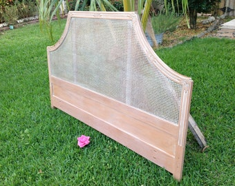 "PAGODA CANE HEADBOARD / Vintage king Pagoda Headboard 78"" x 50"" tall/ Solid Wood carved headboard / Hollywood Regency style Retro Daisy Girl"