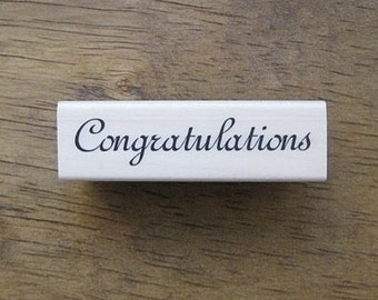 Congratulations Hand Writing Rubber Stamp