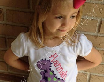 Girls Dinosaur Appliqué  Shirt, Personalized, Long or Short Sleeves, Sizes 12 Mos.-Girls 8