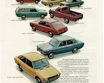 1972 Advertisement Toyota Line of Cars and Truck 7 Driver Owner Colorful 2400 Dealership Garage Corolla Carina Pickup Truck Wall Art Decor