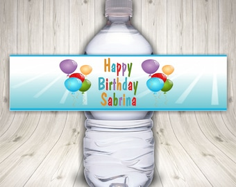 Birthday Labels, Water Bottle Labels, Drink Labels, Birthday Water, Custom Water Labels, Blue Bottle Label, Waterproof Labels, Party Balloon