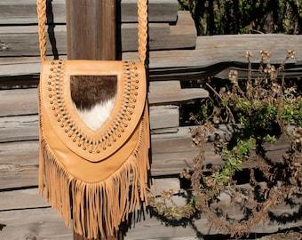 SALE Genuine Leather and Cowhide Fur Bag * Crossbody Bag * Boho Bag * Hippie Chic Bag * Fall Bag *Handmade Leather Bag *Gypsy *Hippie BP033A