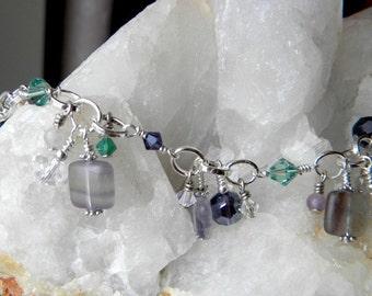 Swarovski crystals, fluorite, wire wrapped charm style bracelet