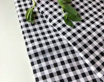 Large Gingham checks, twill effect printed fabric, gingham printed fabric, black and white printed fabric, Indian cotton fabric, by the yard