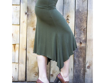 Swallow Tail Mid Length Pencil Skirt - Organic Fabric - Made to Order - Choose Your Color