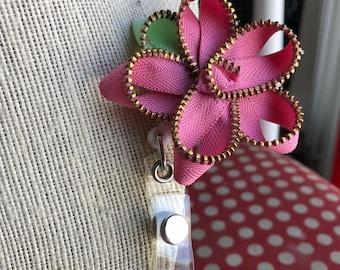 Pink Vintage Zipper Flower Badge Reel